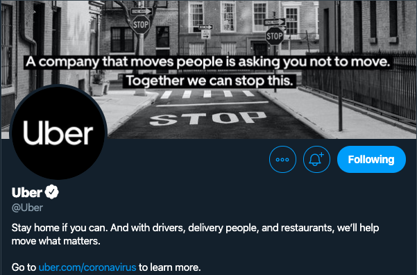 This is how uber twitter page looked like