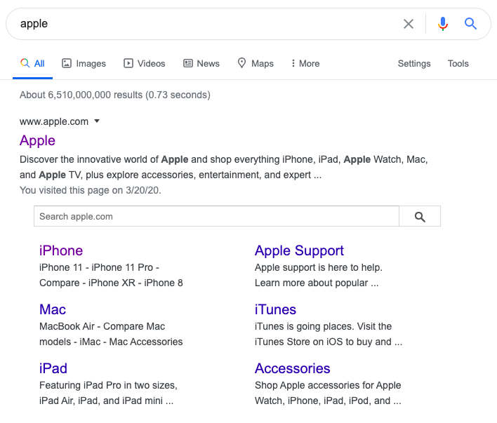 Apple search in google